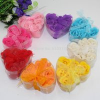 Wholesale Wholesales For Soap Gifts - Free shipping Wholesale High quality mix colors heart-shaped rose Soap flower(6pcs box.10boxes lot) for romantic bath and gift