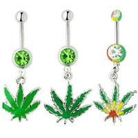 Wholesale Charm Belly Button Rings - 316L Surgical Stainless Steel Crystal Rhinestone Belly Button Navel Bar Rings New Body Piercing Jewelry Dangling Maple Leaf Charms