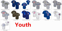 Wholesale Cubs Team - Youth Kids Child Cubs 17 Kris Bryant Baseball Jersey White Blue Gray Grey Memorial Day Green Salute Players Weekend Mothers Day Team Logo