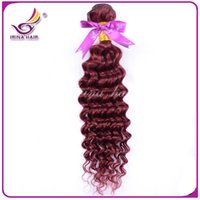 Wholesale Curly Burgundy Hair Extensions - Red Hair Extensions 99j Deep Curly Virgin hair 1pcs Brazilian Peruvian Malaysian Indian Wholesale Human Hair 7a Brazilian Hair Weave Bundles