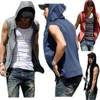 Wholesale Men S Plain Hoodies - Casual Sport Solid Zip up Sweatshirt Summer Autumn Men's Sleeveless Hoodie Slim Fit Plain Cotton Hoodied Vests