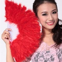 Wholesale elegant fancy folding hand fans for sale - Group buy Feather Fan for Show Girl Fluffy Feather Hand Fan Dance Fancy Elegant Props Dress Wedding Costume Dance Folding Fan Halloween Phantom Party