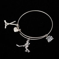 Wholesale Play Wristbands - Myshape Cool Fashion Stainless Steel DIY Charms Bracelet Man Playing Golf With Golf Clubs Heart Pendant Bangle Wristbands For Special Friend