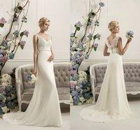 Wholesale Tarik Ediz Bride - V neck Long Tarik Ediz Mermaid Wedding Dresses Sleeveless Elegant Vestido de Noiva HIgh Grade Bridal gowns Fast Delivery For Bride WWL