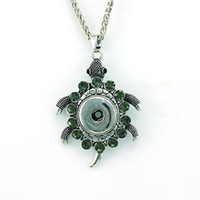 Wholesale Tortoise Crystal Pendant - New Fashion 18mm Snap Buttons Charms Necklaces Rhinestone Retro Tortoise Interchangeable Buttons Pendants Necklaces For Men Jewelry
