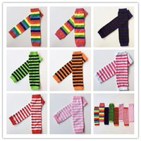 Wholesale Children Patterned Cotton Tights Leggings - 2015 New Baby Girl Boy Leg Warmer Children infant Striped pattern knitted leggings Tights Halloween Waist Arm warmers 8 color DF8004