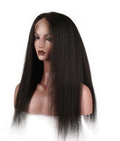 Wholesale yaki human hair wigs bangs online - 130 Density Straight Lace Front Human Hair Wigs With Bangs Brazilian Remy Hair For Black Women Pre Plucked Bleacehd Knots