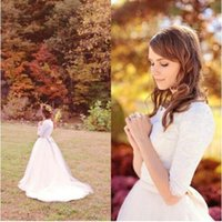 Wholesale Ivory Wedding Elbow Sleeve - 2016 Newest arrival A Line Wedding Dresses Simple Scoop Lace Tulle Western Country Modest Wedding Dresses Bridal Gowns with Elbow Sleeves