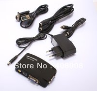 Wholesale Bnc Vga Free Shipping - Wholesale - TV BNC Composite S-video VGA In to PC VGA LCD Out Converter Adapter Box Black free shipping