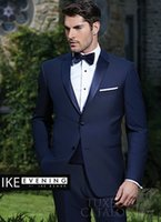 Wholesale Grooms Tuxedos Wedding Royal Blue - Custom Made Two Button Royal Blue Groom Tuxedos Notch Lapel Groomsmen Mens Wedding Prom Suits (Jacket+Pants+Girdle+Tie) H303