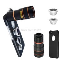 Wholesale Note2 Camera Zoom - Wholesale-8X Telephoto Zoom Lens+Fisheye Fish Eye+Wide Angle Macro Camera Lens+case for iPhone 4 5S 6 6PLUS Samsung Galaxy S3 S4 Note2 3 4