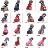 Wholesale snowflake clothing online - Dog Clothes For Halloween Christmas Reindeer Snowflake Pumpkin Skull Puppy Pet Costumes Clothing Knitted Outerwears Coat Sweater HH7