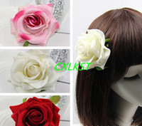 Wholesale Silk Hair Rose Clip - U Pick Floral Crown Rose Flower Headband Hair Clip Wedding Headpiece Brand new Good quality Free shipping