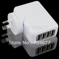 Wholesale Drop Shipping Usb Wall Charger - Wholesale-New 4-Port USB Power Adapter Charger with AU Wall Plug Adapters - White Free Shipping Drop Shipping