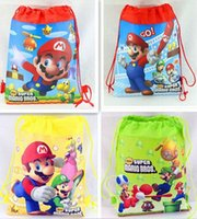 Wholesale Super Mario Backpacks For Kids - 12pcs lot Super Mario backpack Children Cartoon Drawstring school bags for boys Mixed 4 Designs,Kids Birthday Party Favor