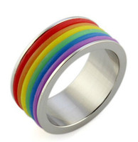 Wholesale Pride Stainless Steel Rings - 9mm Stainless Steel Silicone Lesbian and Gay Pride Rainbow Rings