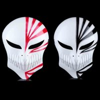 Wholesale Bleach Anime Mask - BLEACH Kurosaki Ichigo Anime Mask Halloween Cosplay Props Full Face PVC Film Mask Magic Azrael Cosplay Costume Accessories 10pcs lot SD319