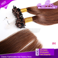 Micro Ring Micro-boucle Extension de cheveux Remy Extension de cheveux 100s Virgin 18inch # 4 Micro Ring Loop Extension de cheveux droit Peut être teint