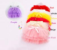 Wholesale Pettiskirts Purple - New Kid girls fluffy pettiskirts tutu Princess party skirts With bowknot Ballet dance wear 3-11years 7 Colors Free shipping