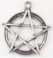 Wholesale Wicca Pendant - Fashion Vintage 50pcs Tibetan Silver Pentagram Gothic Wicca Paga Alloy Charm Pendant For Bracelet Jewelry Findings Girls Bijoux M789