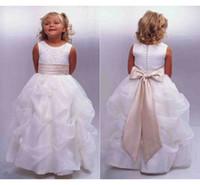 Wholesale Cheap Kid Tank Tops - Cute Flower Girls Dresses 2015 With Ruffles Skirt Sashes Ball Gown White Crew Tank Top Floor Length Cheap Formal First Kids Communion Dress