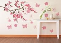 Wholesale Big Flowers Decals - Cherry Blossom Flower Bedroom Room Art Vinyl Decal Home Decor Wall Sticker Big-60*90cm DIY Free Shipping