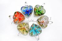 Wholesale Venetian Glass Flowers - Heart Multi-Color venetian Wholesale lots Lampwork Murano Glass Pendants Flower in 3D Necklaces Wholesale Retail FREE #pdt21