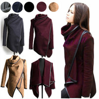 Wholesale European Jacket Women - Fall Winter Clothes for Women 2015 New European and American Wool & Blends Coats Ladies Trim Personality Asymmetric Rules Short Jacket Coats