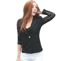 Wholesale korean style casual clothing for sale - Korean Style Fashion Clothing Sexy Ladies Women Jacket Long Sleeve Lace Female Suit Jackets Coats Outerwear Autumn Black Bolero DG408