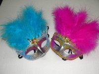 Wholesale Venetian Mask Masquerade Costume Purple - 10pcs lot Half Faces Venetian Mask with 11 beautiful feather Mardi Gras Masquerade Halloween Costume Party MASKS