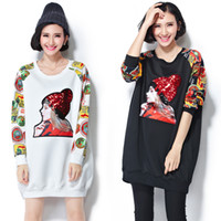 Wholesale Large Size Korean Dolls - 2015 Winter new Korean version of large size women fat mm thin printing baseball uniform fashion sequin sweater female doll