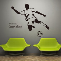 Wholesale Removable Vinyl Sports Wall Stickers - 2016 new Soccer Wall Decal Sticker Sports Decoration Mural for Boys Room Wall Stickers free shipping