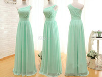 Wholesale One Shoulder Prom Mint - 2015 Real Pictures Mint Green Long Evening Gowns One Shoulder Ruffles Backless Chiffon Prom Dresses Floor Length Cheap Party Dress A Line