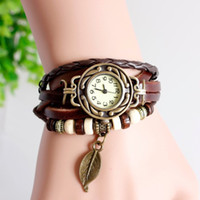 Wholesale Retro Little Watches - 2017 New Retro Cow Leather watches, Retro little tree leaves charms dress watch for women 20PCS