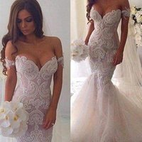 Wholesale Chapel Length Train Wedding Dresses - 2016 Spring Lace Mermaid Wedding Dresses Dubai Arabic Off-shoulder Sweetheart Full Length Backless Court Train Wedding Gowns