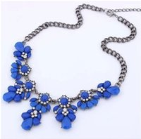 Wholesale Drop Gem Bib - Collar Fashion Bib Choker Necklace Fluorescence Colors Crystal Gem Flower Drop For Women Statement Necklacenecklaces & Pendants