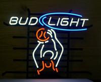 ingrosso neon luminoso di bud-Bud Light Giocatore di pallacanestro Neon Sign Personalizzato Handcrafted Real Glass Lampadina Sport Game Room Display Pubblicità Neon Signs 17