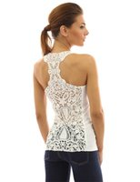 Wholesale Lace Back Girls Tank Tops - Tops Women's Short Summer Sexy Crochet Back Tank Tops Autumn Lace Flower Hollow Out Camisole Vest Hot Sale Slim Girls Clothing