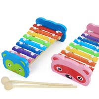 Wholesale Bench Pink - Early Education wooden toy 8 Notes Xylophone Rainbow Piano Musical Instrument Bench cute animal Best gift present for girls baby kids toy