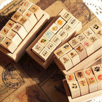 Wholesale Wood Postcards - Lovely MINI DIY Wood Stamp Sketch Photo Postcard Decoration Scrapbooking Art Logo Stamps Wood Box Pack 12pcs SK766