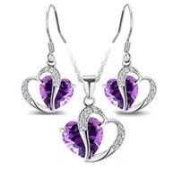boucles d'oreilles pendentif coeur achat en gros de-Ensembles de bijoux d'argent bon marché pour vendre des colliers et boucles d'oreilles en argent pour les femmes de cristal pendentif en argent Bijoux en gros en ligne - 0031LD
