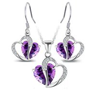 Wholesale china purple heart for sale - Jewelry Sets Girl Silver Crystal Heart Earrings Pendants Necklaces sets for Women Party Gift Fashion Jewelry LD