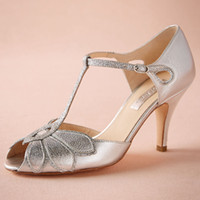 """Wholesale T Strap Gold Glitter Heels - Silver Wedding Shoes Glitter Pumps Mimosa T-Straps Buckle Closure Leather Party Dance 3"""" High Heels Women Sandals Open Toe Bridal Shoes"""