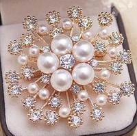 moda checa al por mayor-5 Color Perla Cristales Oro Copo de nieve Broche de Lujo Diamante Checo Mujeres Hijab Desgaste Broches Prendedores Joyería de Moda