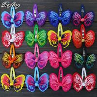 sevimli saç kelebek klipleri toptan satış-Toplay 48 adet / grup Ile 2.6 inç Kelebek Şerit Saç Yaylar Bb Saç Klipler Saç Pins Butik Yaylar Sevimli At Kuyruğu Kızlar Hairbow