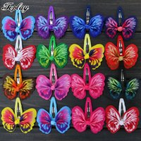 cintas de arcos para niñas al por mayor-Toplay 48 unids / lote 2 .6 pulgadas Lazo de la cinta de la mariposa arquea el pelo con las pinzas de pelo de Bb Horquillas para el cabello Boutique Arcos lindos Ponytail Girls Hairbow