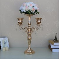 Wholesale Metal Bowl Stand - 58 cm height 5-arms metal Gold candelabras with crystal pendants wedding candle holder Event centerpiece 10 pcs lot