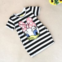 Wholesale Dress Tutu Red Stripe - Summer kids clothes girl cartoon dress stripe top 100% cotton short sleeve dress 5 colors for 1~7Y girls