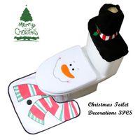 Wholesale Free Shipping Bathroom Sets - Christmas Toilet Seat Cover and Rug Bathroom Set Contour Rug Christmas Decorations for Home Noel Navidad Decoracion Wholesale Free Shipping