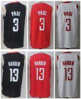 Wholesale Red Rockets - 17 18 New Men's Houston #13 James Harden 3 Chris Paul Home Red White Black Jersey Rockets stitching Jerseys